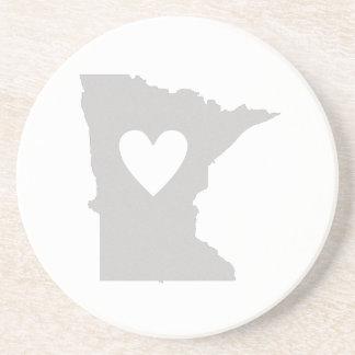 Dessous De Verre En Grès Silhouette d'état du Minnesota de coeur