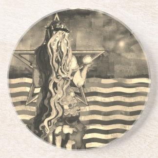 Dessous De Verre En Grès Sirène par la mer avec la lune et les étoiles
