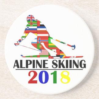 DESSOUS DE VERRE EN GRÈS SKI 2018 ALPIN