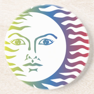 Dessous De Verre En Grès Solaire léger chaud de visage coloré