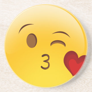Dessous De Verre En Grès Soufflez un autocollant d'emoji de baiser
