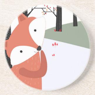 Dessous De Verre En Grès Sourire mignon vintage de loup de renard de bébé