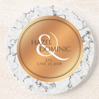 Dessous De Verre En Grès Souvenir élégant de mariage d'aluminium de marbre