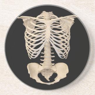 Dessous De Verre En Grès Squelette effrayant de cage de zombi de partie de