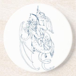 Dessous De Verre En Grès St George massacrent le dessin de dragon