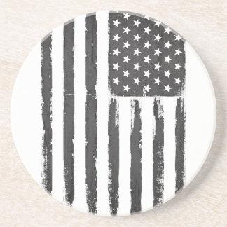 Dessous De Verre En Grès Style grunge noir de purge de drapeau américain