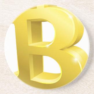 Dessous De Verre En Grès Symbole de signe d'or de Bitcoin 3d