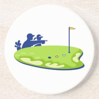 Dessous De Verre En Grès Terrain de golf de caddie de golfeur rétro