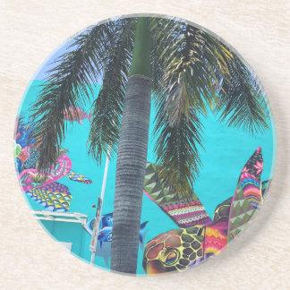 Dessous De Verre En Grès Tortue tropicale, paradis de palmier
