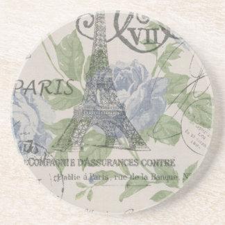 Dessous De Verre En Grès Tour Eiffel floral bleu de Paris de pays chic