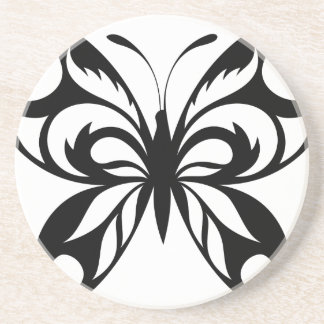 Dessous De Verre En Grès Tribal-Papillon-Silhouette