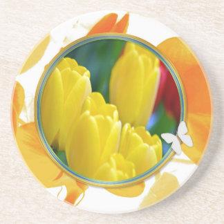 Dessous De Verre En Grès Tulipes jaunes dans le cadre rond coloré