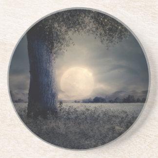 Dessous De Verre En Grès Un arbre dans le clair de lune