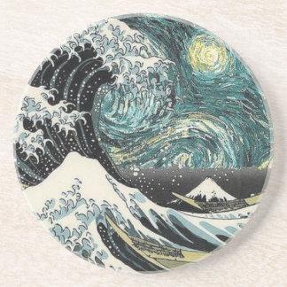 Dessous De Verre En Grès Van Gogh la nuit étoilée - Hokusai la grande vague