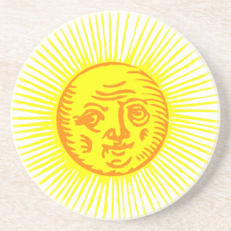 Dessous De Verre En Grès Vieux Sun