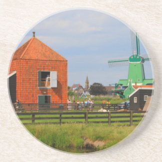 Dessous De Verre En Grès Village néerlandais de moulin à vent, Hollande 4