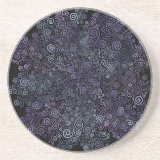 Dessous De Verre En Grès violet 3d et turquoise psychédéliques