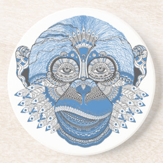 Dessous De Verre En Grès Visage bleu de singe avec le motif et les plumes