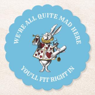 Dessous-de-verre En Papier Alice chez le lapin du pays des merveilles avec la