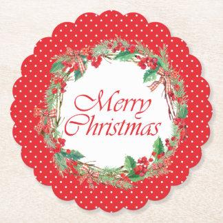 Dessous-de-verre En Papier Aquarelle de Noël | - arc Wreat de houx et de