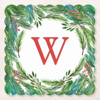 Dessous-de-verre En Papier Aquarelle de Noël | - cadre de pin et de houx