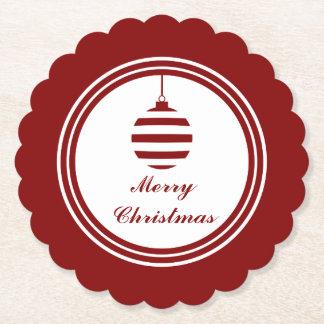Dessous-de-verre En Papier Babiole rouge et blanche de vacances de Joyeux