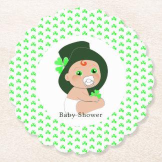 Dessous-de-verre En Papier Baby shower chanceux de shamrock de lutin