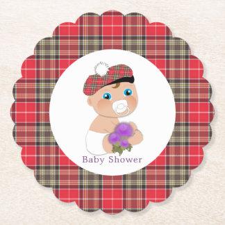 Dessous-de-verre En Papier Baby shower écossais du tartan  Thistle