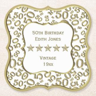 Dessous-de-verre En Papier cinquantième Blanc de fête d'anniversaire et thème