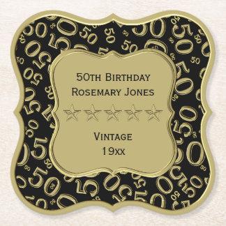 Dessous-de-verre En Papier cinquantième Noir de fête d'anniversaire et thème