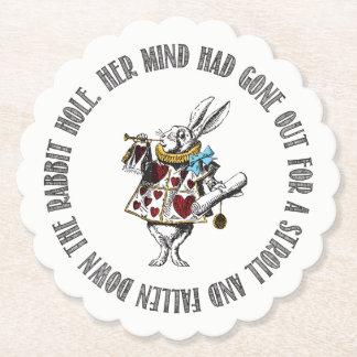 Dessous-de-verre En Papier Citation blanche de lapin du pays des merveilles