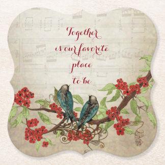 Dessous-de-verre En Papier Citation florale rouge de motif d'oiseaux