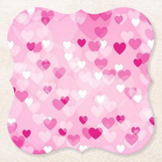 Dessous-de-verre En Papier Coeurs sur toute la surface, roses