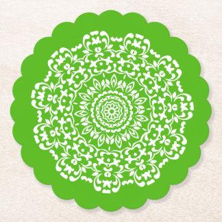 Dessous-de-verre En Papier De dentelle chic élégant blanc vert modelé