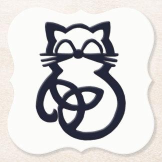 Dessous-de-verre En Papier Dessous de verre celtiques de chat de noeud noir