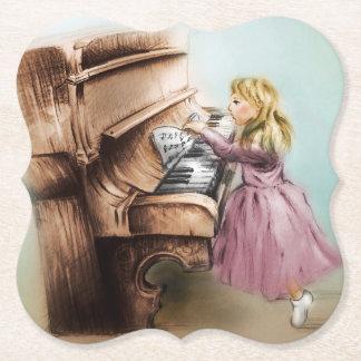 Dessous-de-verre En Papier Dessous de verre formés par fille de piano, art