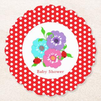 Dessous-de-verre En Papier Fantaisie mignon de jolies coccinelles de fleurs