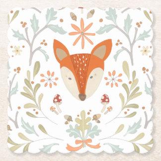 Dessous-de-verre En Papier Fox lunatique de région boisée