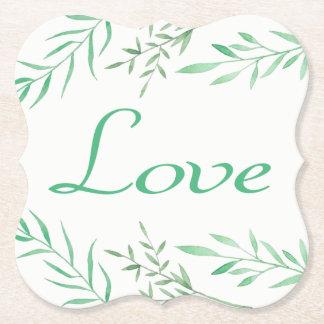 Dessous-de-verre En Papier Le laurier vert floral part de l'amour de mariage