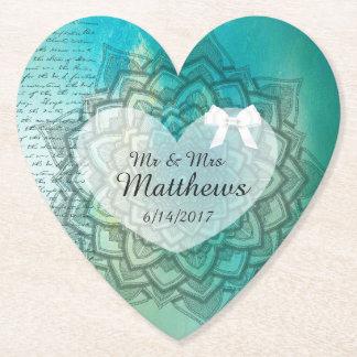 Dessous-de-verre En Papier Mandala turquoise personnalisé épousant des