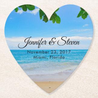 Dessous-de-verre En Papier Mariage tropical d'île de vacances de plage