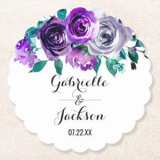 Dessous-de-verre En Papier Menthe et monogramme floral pourpre de mariage