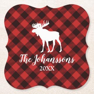 Dessous-de-verre En Papier Noël rouge et noir d'orignaux et de Buffalo de