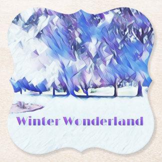 Dessous-de-verre En Papier Paysage artistique du pays des merveilles blanc