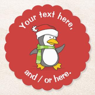 Dessous-de-verre En Papier Pingouin de Noël marchant sur la neige