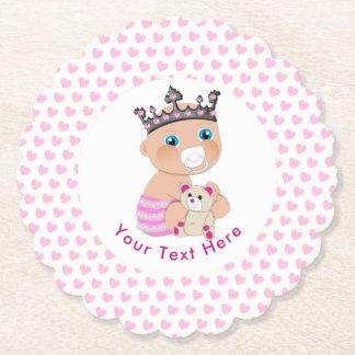 Dessous-de-verre En Papier Princesse rose baby shower personnalisé