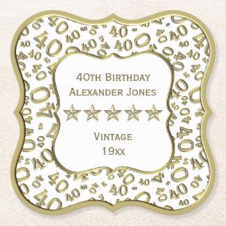 Dessous-de-verre En Papier quarantième Blanc de fête d'anniversaire et thème