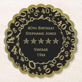 Dessous-de-verre En Papier quarantième Blanc de fête d'anniversaire/thème