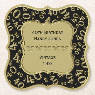 Dessous-de-verre En Papier quarantième Noir de fête d'anniversaire et thème