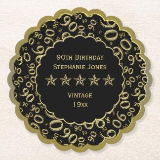 Dessous-de-verre En Papier quatre-vingt-dixième Noir de fête